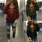 Fashion Womens Lace-up Long Sleeve Shirt Casual Blouse Loose Tops T Shirt TY