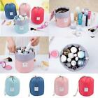 Womens Makeup Drawstring Pouch Bucket Barrel Shaped Cosmetic Bag Travel Case New
