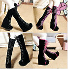 New women's Platform Wedge Heels Goth Punk Boots Lace Up Knee High Boots