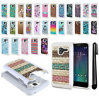 "For Alcatel TRU 5065 Stellar Pop 3 5"" Anti Shock Bling HYBRID Case Cover + Pen"