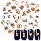 2Pcs 3D Nail Art Decoration Champagne Sharp Bottom Rhinestone Manicure Tips DIY