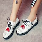New Womens Cute Brogue Lace Up Chunky Low Heels Leather Oxford Shoes White/Black