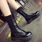 Women's Lace Up Round Toe Motorcycle Platform Mid Calf Boots Punk Shoes Q3114