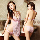 Red Black Pink White Purple Rose Sexy Lace lingerie babydoll Crotchless + Panty