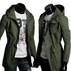 WINTER MILITARY Men's Hooded Trench Coat Long Jacket Windbreaker Outerwear Tops