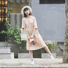 Fashion Ladies Preppy Style Casual 1/2 Sleeve Bandage Crew Neck Slim Party Dress