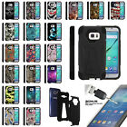 For Samsung Galaxy S7 G930 Dual Layer Protective Stand Case + Tempered Glass