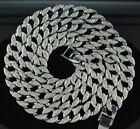 "Hip Hop Bling 30"" Simulated Diamond 15mm Cuban Link Chain Necklace Men's Jewelry"
