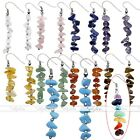 7 Chakra Crystal Quartz Gemstone Silver Bar Drop Dangle Beads Hook Earrings GIFT