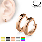 Pair of Stainless Steel Small Plain Dome Hoop Huggie Earrings Men or Women