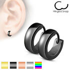 Pair of Stainless Steel Classic Plain Dome Hoop Huggie Earrings Men or Women