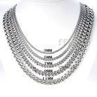3/5/7mm Mens Chain Silver Tone Stainless Steel Curb Cuban Link Necklace 15-45''
