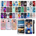 For HTC One M9+ Plus Ultra PATTERN HARD Protector Back Case Phone Cover + Pen