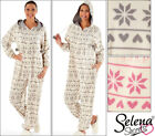 New Ladies Micro Fleece Onesie Pink Grey Snowflake Reindeer 10-12 14-16 18-20