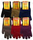 Adults Ladies Plain Thermal Full Finger Knitted Gloves Womens Warm Winter Hands