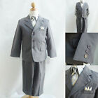 Silver/Dark Grey Pinstripe bridal party graduation boy formal suit vest pant tie