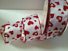 GLITTERY HEARTS red on white Love Valentine 63mm - Luxury Wire Edged Ribbon NEW!