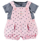 Carter's 2 Piece Black/White Striped Top with Pink Allover Heart Printed