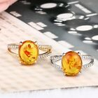 Amber Citrine transparent Crystal Ring Statement Wedding Size7-10 Cute Ring