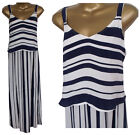 New M&S Double Layer Maxi Dress Size 10-14 Navy White Marks & Spencer Beach