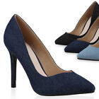 Spitze Damen Pumps Denim Jeans High Heels Stilettos Schuhe 814833 Trendy