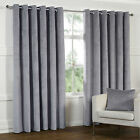 HEAVY Lined VELOUR Velvet Like Curtains Dove GREY Eyelet 66 90 108 PATIO LIVING