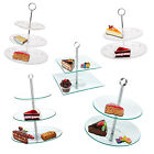 Glass Cake Stand Sandwich Birthday Wedding Party Serving Platters Round Square