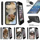 """For Apple iPhone 7 (4.7"""") Clip Stand Case + Tempered Glass Cow Licking Nose"""