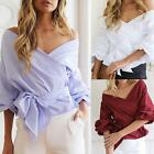 Women Lady Blouse Shirt Off Shoulder Long Sleeve Casual Tops Blouse