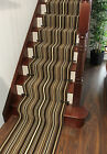 Chocolate Brown Stripe Hallway Runner Rug Sold Per Metre Stair Carpet Online UK