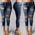 Ladies Women Trousers Destroyed Ripped Distressed Denim Pants Boyfriend Jeans BO