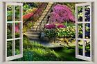 Garden View 3D Window Decal WALL STICKER Home Decor Art Mural Flowers