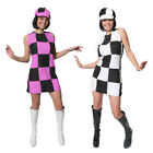LADIES 1960S PARTY GIRL SHIFT DRESS FANCY DRESS HIPPY COSTUME XSMALL - PLUS SIZE