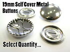 19mm Metal Self Cover Buttons Brass Silver Fashion Snap Blank Buttons