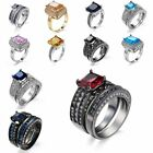 Fashion Jewelry Engagement Square Finger Rings Platinum Plated Shinning Women