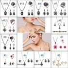 3pcs Chain Jewelry Set Crystal Pendant Necklace Earring Ring Sets New Fashion BS