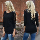 USA Women Casual Tops New T-Shirt Loose Fashion Blouse Cotton Blouse Long Sleeve