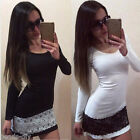 Women Ladies Long Sleeve Lace Dress Bodycon Party Casual Crewneck Dress