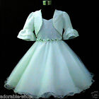 Kids Off White Christening Wedding Flower Girls Dresses + Cardign Set SIZE 2-10Y