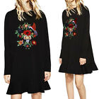 Lady Long Sleeve Embroider Flower Black Cocktail Party Swing Tail Pullover Dress