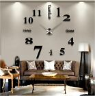 DIY 3D Large Number Mirror Wall Clock Sticker Decor for Home Office Kids Room