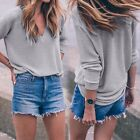 Women Casual Long Sleeve Knitted Pullover Loose Sweater Jumper Tops B20E