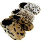 New Womens Furry Leopard Mule Slipper Ladies Mules Slippers Size UK 3 4 5 6 7 8