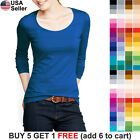 Basic Scoop Neck T Shirt Solid Plain Top Layer Stretch Fitted Blank Women 3081