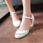 Sweet Women Mary Janes Formal Hollow Out Ankle Pump Block Heel Shoes All Size