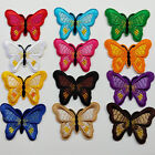 12pcs Butterfly Sew On Iron On Patch Applique Clothes Dress Hat Plant Jean Kid