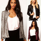 NEWLY WOMENS SEQUINS LONG SLEEVE BLAZER JACKET EVENING PARTY COAT OUTWEAR TOPS