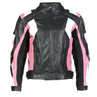 Ladies Black & Pink Leather Womens Motorcycle Jacket With Removable CE Armour