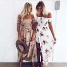 Womens Off Shoulder Floral Long Maxi Dress Summer Ladies Beach Party Sun Dress