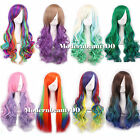"27"" Anime Cosplay New Rainbow Fading Color Hair Long Curly Straight Wigs Party"